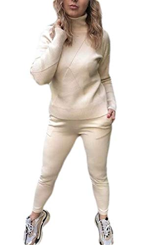 Qoyaun Women High Neck Knitted Jumpsuit Sweater Jogger Pants Tracksuit,2,One Size