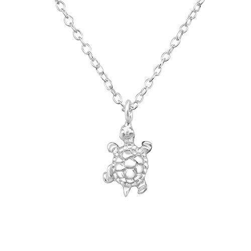 Monkimau Mädchen Halskette Schildkröte Anhänger aus 925 Sterling Silver echt Silber mit 45cm Kette