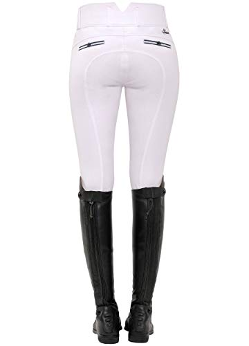 SPOOKS Reithose für Damen Mädchen Kinder, Voll-Besatz Reithosen Leggings Turnierreithose - bequem & stylisch Ricarda Full Grip High Waist - White M