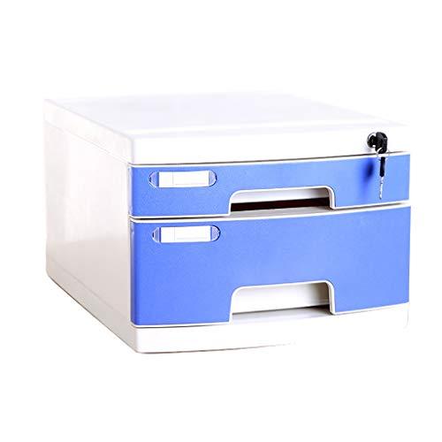 Archiefkasten, Tabletop Office Desktop ladekast 2 lagen afsluitbare aluminiumlegering opslag box (afmetingen: 11,8 x 15,8 x 8,7 inch) 2-Layers A1.