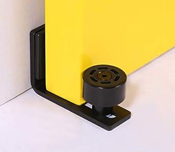 CCJH - Puerta de granja corredera ajustable, guía de suelo para pared o bajo de puerta, negro