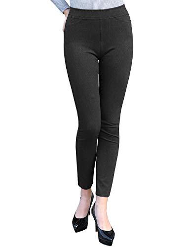 DISHANG - Pantaloni da Lavoro da Donna, Aderenti, Elasticizzati, Aderenti, da Ufficio Grigio Scuro L