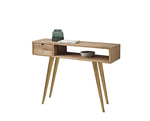 HOGAR24 ES Kronos 100- Mueble Recibidor-Entrada, Diseño Industrial-Vintage, Cajón, Estante y Patas, Madera Maciza Natural. Medidas: 100 cm x 30 cm x 75 cm