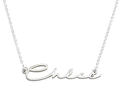 SS-Chloe:MyNameNecklace Personalized Signature Style Name Pendant Necklace Jewelry -Sterling silver