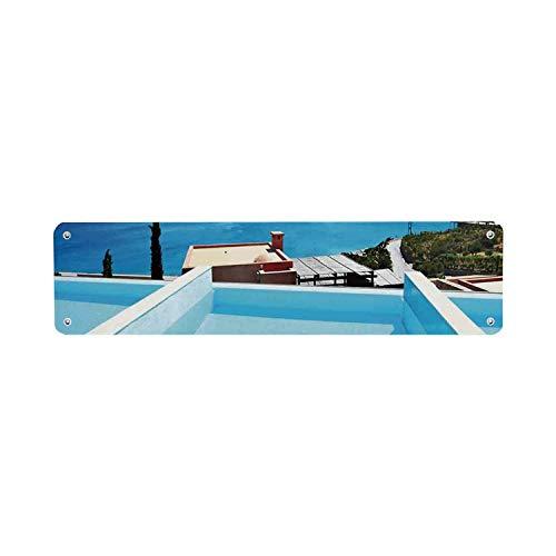 Huis Decor Economische Tin Sign,Zwembad Hotel met een Uitzicht Eiland Kreta Griekenland Terras Turkoois Zee Decoratieve 40x10 cm Kennisbord voor Indoor Outdoor Yard Street Tekenen