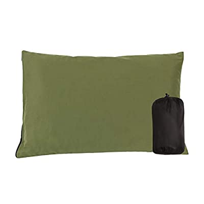 CAMPMAX Small Camping Pillow for Sleeping, Comfortable Cotton Lightweight Compressible Travel Pillows with Removable and Washable Pillow Cover, Green 1 Set