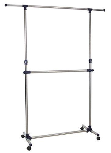 Kronenburg Kleiderständer Doppelstock auf Rollen, stufenlos höhenverstellbar 113 cm bis 198 cm – Garderobenständer stabil aus Metall freistehend – ausziehbare Kleiderstange