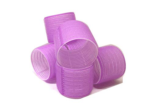 6 Pack Super Jumbo Self Grip Hair Rollers Pro Salon Hairdressing - Big Curlers Create Volume For Long Hair (Purple)