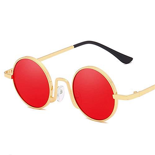 Gafas De Sol Hombre Mujeres Ciclismo Gafas De Sol Redondas para Mujer Y Hombre, Gafas De Sol De Metal Vintage para Mujer, Gafas De Sol para Hombre, Gafas Rojas Y Rosas-No.6_Red