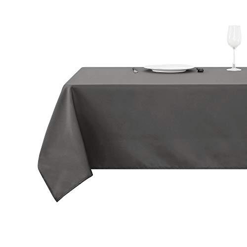 Deconovo Tischdecke Lotuseffekt Wasserabweisend, Polyester, Grau, 130x220