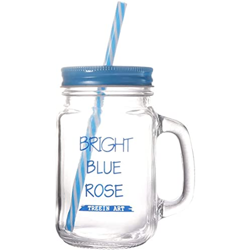 HLPIGF Juego de Vasos de Vidrio para Beber Pasado de Moda de 450 Ml, Tazas para Batidos, Tarros para Beber con Asa y Pajitas (Azul)