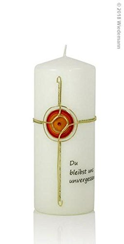 Wiedemann Trauerkerze Kreuz mit Kreis Du bleibst Uns unvergessen, Wachs, Gold, 20 x 8 cm