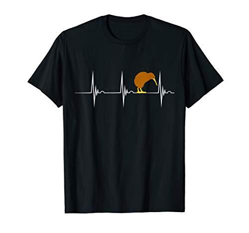 Kiwi Vogel Kiwivogel Herzschlag EKG Puls Neuseeland T-Shirt