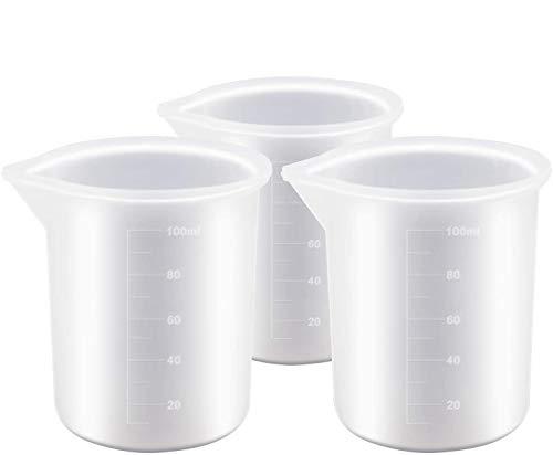 Ancirs 3er-Pack 100 ml Silikon-Messbecher für Epoxidharz, selbstklebende Werkzeuge, handgefertigte Antihaft-Mischbecher, präzise Skala