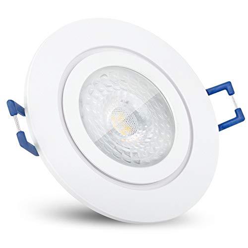 SSC-LUXon RW-2 Bad LED Einbaustrahler flach 30mm mit fourSTEP 5W warmweiß - Dimmen ohne Dimmer IP44 Einbauspot weiß 230V rund