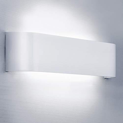 Lightess 12W Apliques de Pared Interior LED Lámpara de Pared Moderna Blanco Luz de Aluminio IP44 Perfecto para Salón Dormitorio Sala Pasillo Escalera, 6000K Blanco Frío