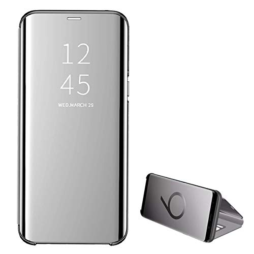 Beryerbi Cover compatibile con Galaxy J4 Plus,Ultra Sottile Flip PC+TPU Mirror con Funzione Kickstand Magnetica Custodia per Galaxy J4 (Galaxy J4 Plus, argento)