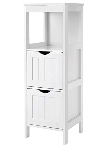 VASAGLE Floor Cabinet Multifunctional Bathroom Storage Organizer Rack Stand, 2 Drawers, White