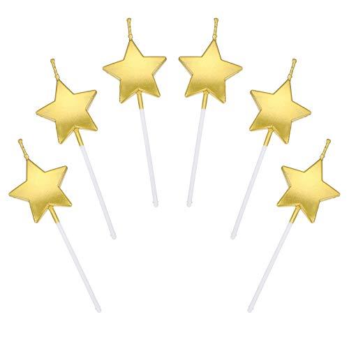JUHONNZ Candeline Compleanno a Forma Stella,6 PCS Particolari Candele di Compleanno a Forma Stellare per Decorazione della Torta di Feste di Compleanno e Matrimonio,Oro