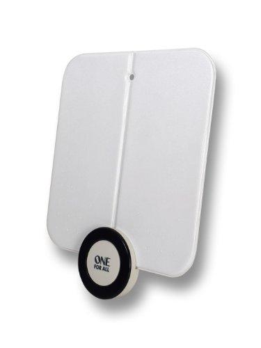 One For All DVB-T/DVB-T2 Indoor/Zimmerantenne – Full HD/HDTV Fernseher Ultraflache TV Antenne mit Verstärker - 0-25 km Reichweite – 3 meter Koaxialkabel - UHF/VHF - weiß - SV9215