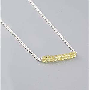 Lemon Quartz Beads Bar Necklace with Sterling Silver Chain