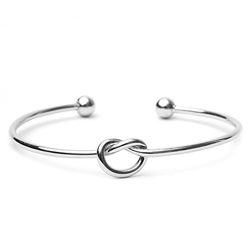 BODYA Love Knot Simple Knot Bangle Cuffs for Women Stretch Bracelet Silver Knot Bangles Bridesmaid Gift Fashion Women Jewelry