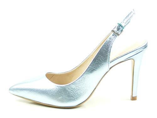 Bronx Sling Pumps Cote 75095-A Metallic High Heels Stiletto, Größe:41 EU, Farbe:Blau