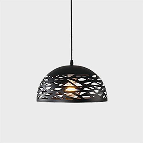 Curish Hohl Eisenpfanne Kronleuchter Retro Industriellen Stil Restaurant Kronleuchter Kreative Persönlichkeit Handwerk Dekoration Lampe (Black,50cm)