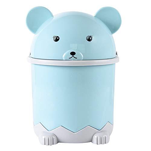 Fransande Papelera de escritorio con tapa pequeña cesta de papel con tapa de plástico, color azul