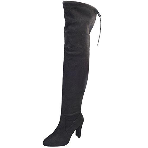 wealsex Botte Talon Cuissarde Elastique Large Mollet Femme Chaussure Automne Hiver Sexy Confort Grand Taille 40 41 42 43