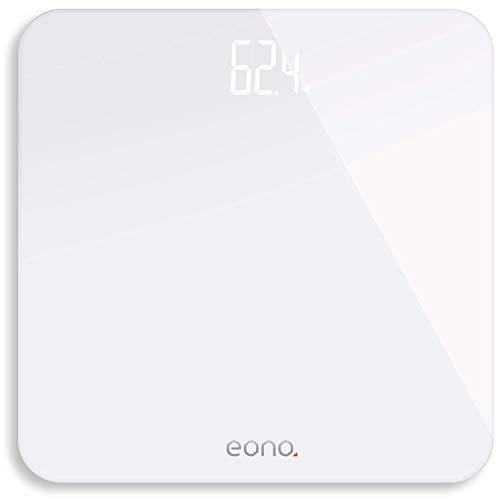 Amazon Brand – Eono Báscula de Baño Digital Ultrafina De Vidrio Templado Para el Baño Con Sensores De Alta Precisión, Sistema De Unidades: kg/lb/st, 15 Años De Garantía Blanco