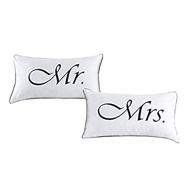 DasyFly 2PCS Mr and Mrs Pillow Cases,His And Hers Couples pillowcases,Wedding, Anniversary,V-day,Christmas, Romantic Gift Idea,His and Hers Gifts for Him, Her, Couples