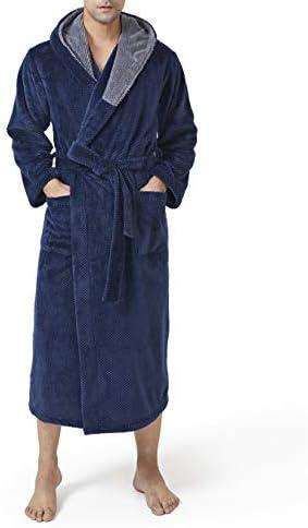 DAVID ARCHY Men s Hooded Robe Ultra Soft Plush Coral Fleece Warm Cozy Shawl Collar Long Bathrobe product image