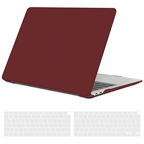 TECOOL Funda para 2020 2019 2018 MacBook Air 13 Pulgadas A2337 (M1) / A2179 / A1932, Cubierta de Plástico Dura Case Carcasa con Tapa del Teclado para Nuevo MacBook Air 13 con Touch ID - Vino Rojo