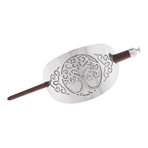 Geschnitzte Haarspange Haarclip mit Stab für Dekoration von Haar, Haarschmuck aus Holz und Metall - 1