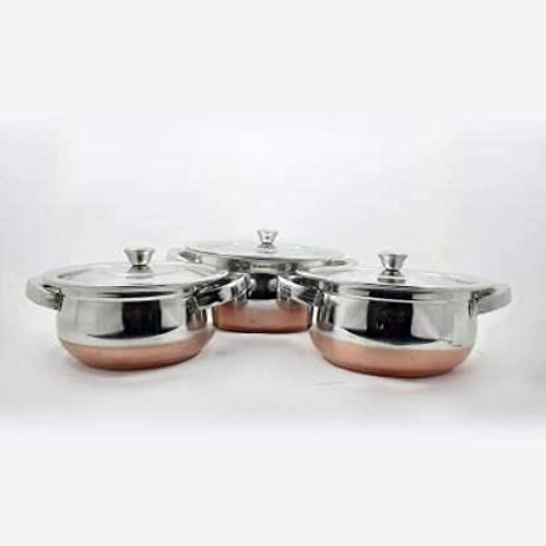 Friends Club Stainless Steel Copper Bottom Kadhai Bowl American Handi Set for Serving and Cooking Use Kitchen and Home Appliances Cookware Handi Set Combo Pack of 3