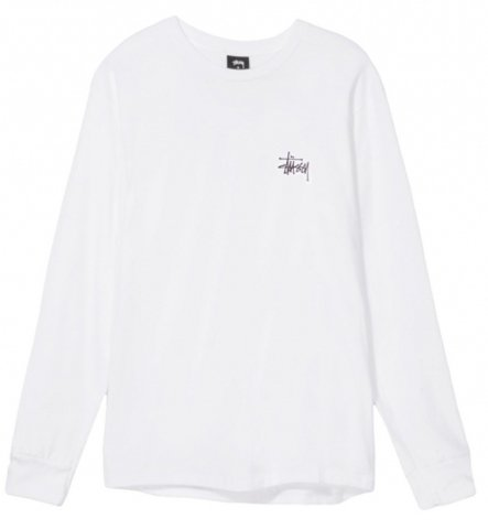 STUSSY ステューシー 長袖Tシャツ BASIC STUSSY LS TEE WHITE M (USサイズ) [並行輸入品]
