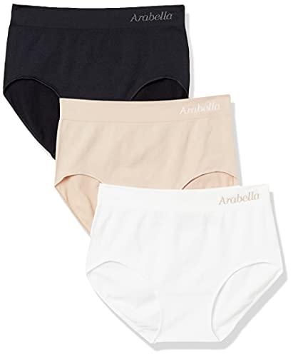 Amazon Brand - Arabella Women's Seamless Brief Panty, 3 Pack,Black/Sunbeige/White,X-Large