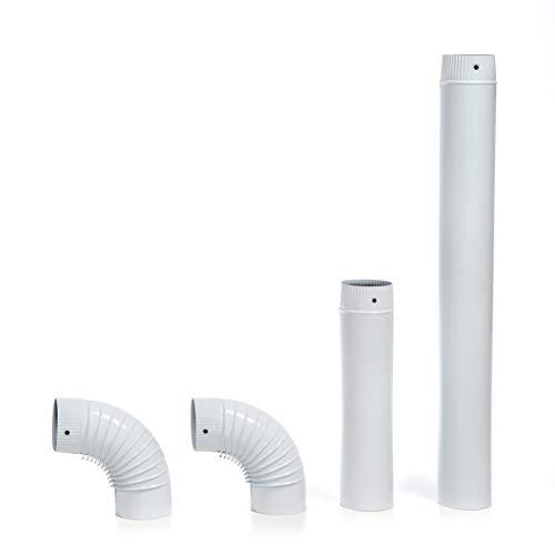 acerto 40566 Ofenrohr-Set, 120 mm Durchmesser - Emailliertes Rauchrohr für Kaminöfen (120 mm, weiß)