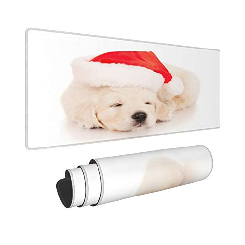 HUAYEXI Large Gaming Mouse Pad,Puppy Sleep New Year Hat White Background,Non-Slip Rubber Mouse Pads Mousepad for Gaming Computer Office desk,80×30×0.3cm