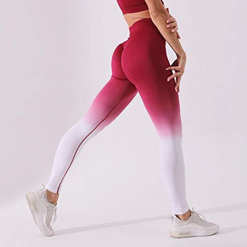 Stretchy legging met hoge taille voor meisjes,Vochtbestendige yogabroek, naadloze sportlegging - Rode ombre legging_L,Stretch Gym Workout Running Legging