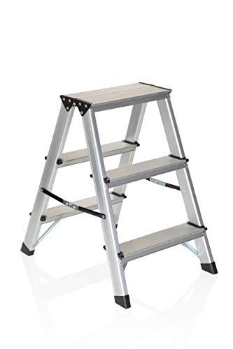 hjh OFFICE 801103 Trittleiter SOLID Aluminium Klapptritt mit 3 Stufen beidseitig begehbar, bis 150kg belastbar