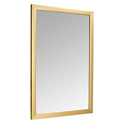 "AmazonBasics Rectangular Wall Mirror 24"" x 36"" - Standard Trim, Brass"