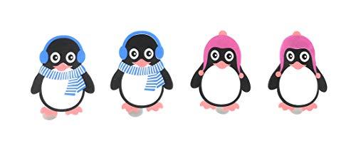 MC Trend 4er Set Taschenwärmer Handwärmer Pinguine für warme Hände und Finger, Wiederverwendbare Wärmekissen