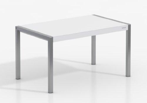 MESA EXTENSIBLE CONCEPT - Encimera Porcelanico Artic /Patas Aluminio, 120X80 cms, (Varios colores disponibles)