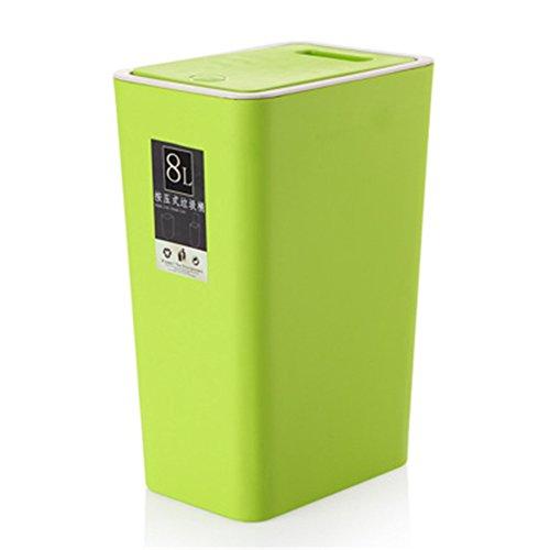 DaoRier Papelera con Tapa Cubo Basura Reciclaje Vertical para Cocina Baño Oficina Size 20 * 13.5 * 34CM (Verde)