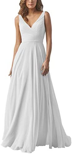 Yilis V Neck Pleated Chiffon Beach Wedding Dresses A line Boho Long Bridal Wedding Gown White product image