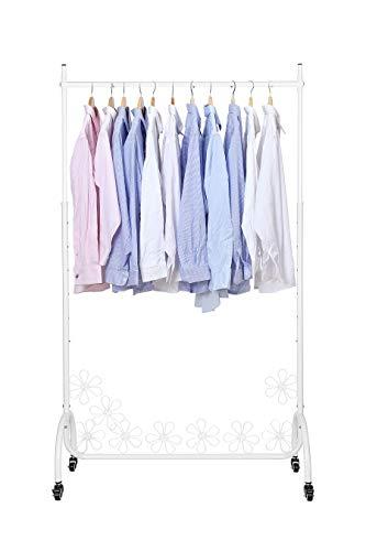 NEUN WELTEN Stand Appendiabiti in Metallo con Design Floreale e Ruote - Porta Abiti Regolabile in Altezza Fino a 180 cm (Bianco)