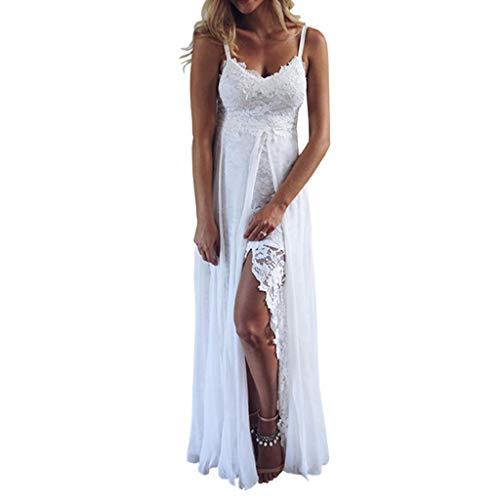 Elegante Kleider Damen Kleid Cocktailkleider Ronamick Damen Sommer Sling V-Ausschnitt Sexy Spitzen Aufteilung unregelmäßiges langes Kleid(M, Weiß)