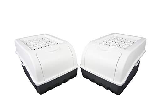 Novaliv Kartoffel Aufbewahrungsbox | 2X mitel 5L | Weiss | Kartoffelbox | Gemüsebox stapelbar Zwiebelbox Kartoffelkorb Obstbehälter Kartoffelkiste Zwiebel Aufbewahrung Frischhaltedose Möhren